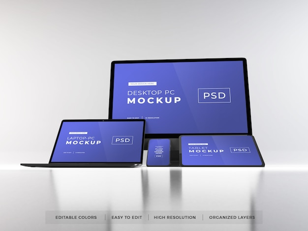Maqueta realista de múltiples dispositivos