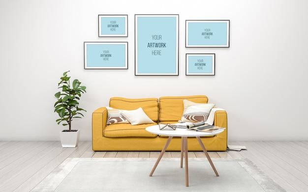 Maqueta realista de renderizado en 3d del interior de la moderna sala de estar