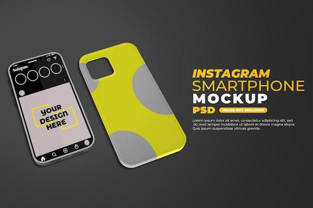 Maqueta realista de smartphone y estuche con instagram aislado