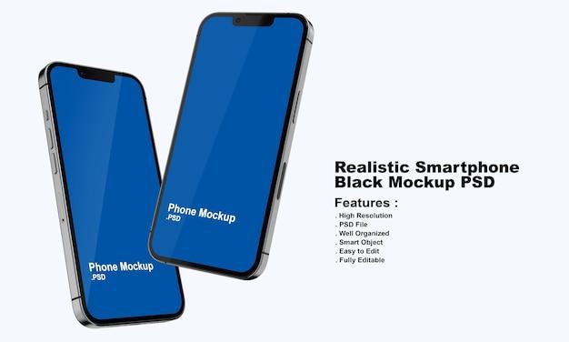Maqueta realista de smartphone negro premium