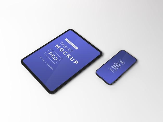 Maqueta realista de teléfono inteligente y tableta