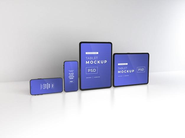 Maqueta realista de teléfonos inteligentes y tabletas