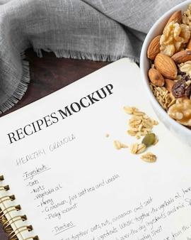 Maqueta de recetas de alto ángulo