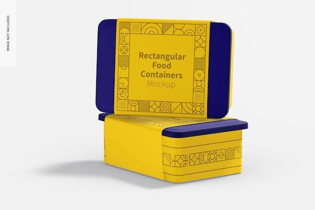 Maqueta de recipientes rectangulares de plástico para entrega de alimentos, vista derecha