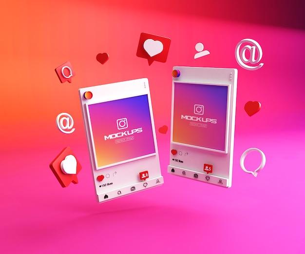 Maqueta de redes sociales de instagram 3d