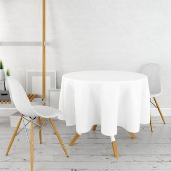 Maqueta redonda de mesa de comedor con un paño blanco y sillas modernas