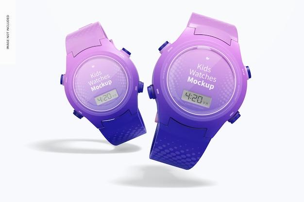Maqueta de relojes para niños, cayendo