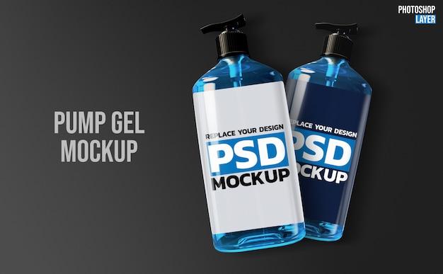 Maqueta de renderizado 3d de botellas de bomba de gel