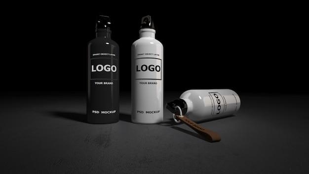 Maqueta de renderizado de botellas