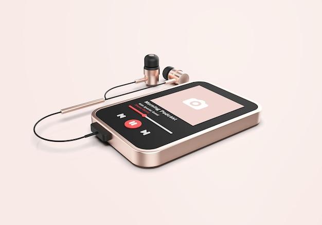 Maqueta de reproductor multimedia 3d de oro rosa