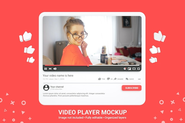 Maqueta de reproductor de video de youtube de redes sociales 3d premium psd
