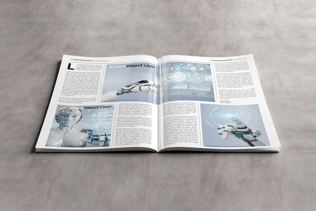 Maqueta de revista a4 en blanco sobre superficie de concreto