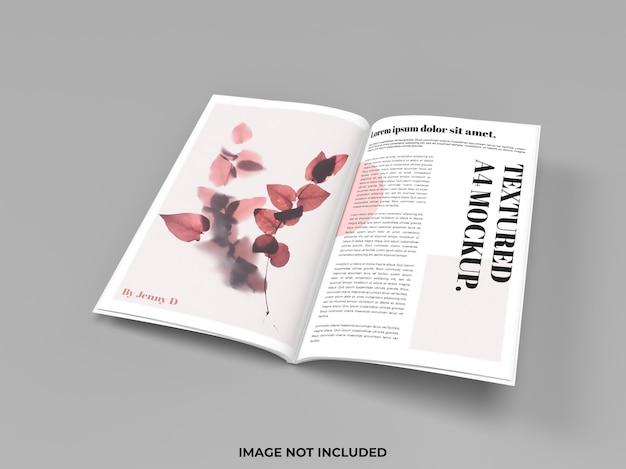 Maqueta de revista abierta para publicidad.