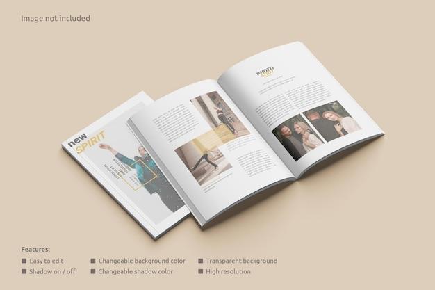 Maqueta de revista abierta con una vista en perspectiva de portada