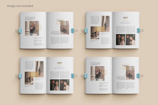 Maqueta de revista abierta con vista superior de clip