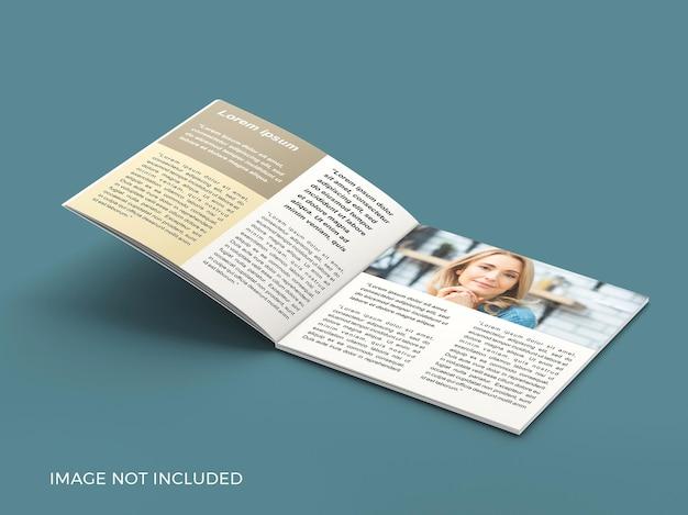 Maqueta de revista cuadrada de página abierta