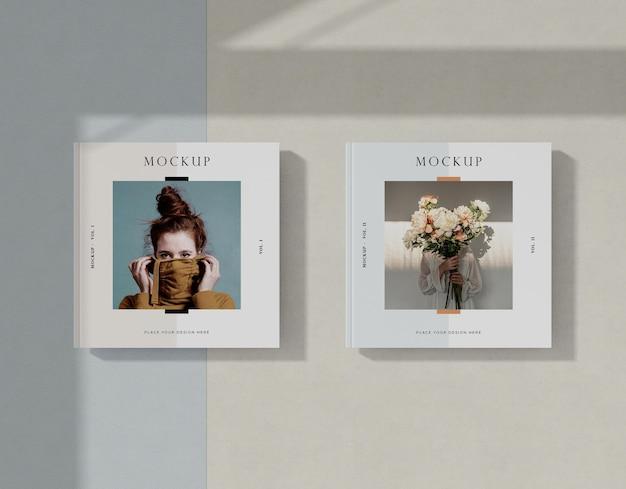 Maqueta de revista editorial mujer y flores