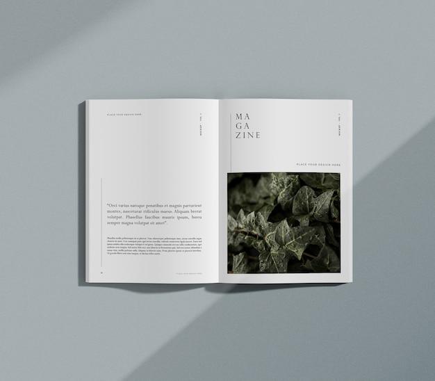 Maqueta de revista editorial de naturaleza y plantas