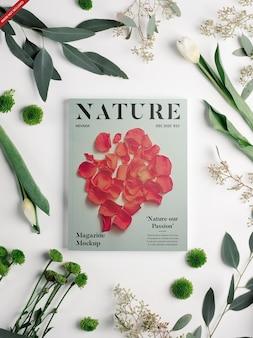 Maqueta de revista con flores
