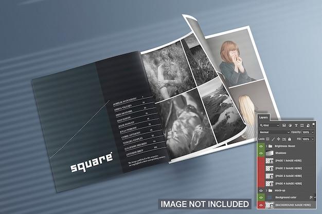 Maqueta de revistas cuadradas abiertas