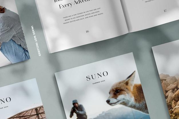 Maqueta de revistas con superposición de sombras