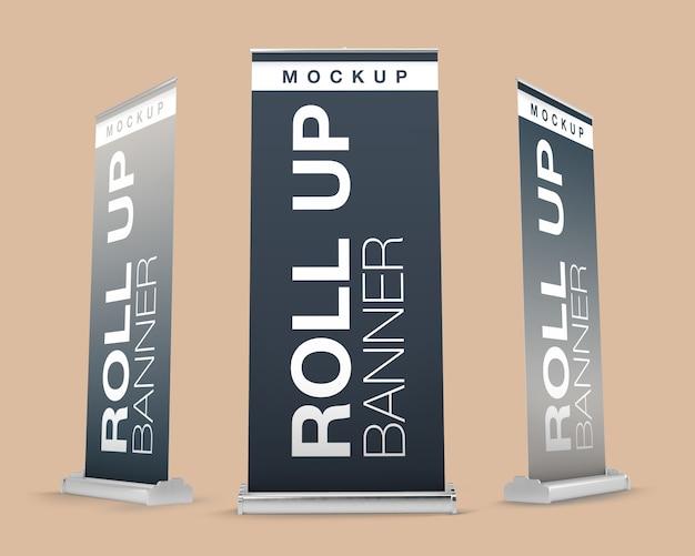 Maqueta de rollups en diferentes vistas