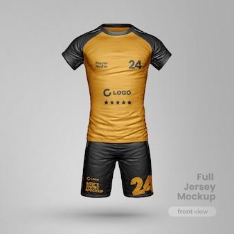 Maqueta de ropa deportiva realista con pantalones cortos y camiseta fullbody