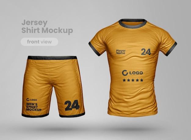 Maqueta de ropa deportiva realista con pantalones cortos y camiseta.