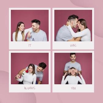 Maqueta de san valentin con imágenes