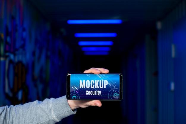 Maqueta de seguridad digital de teléfono móvil