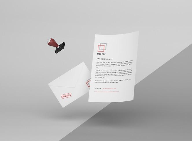 Maqueta y sello de papel levitando