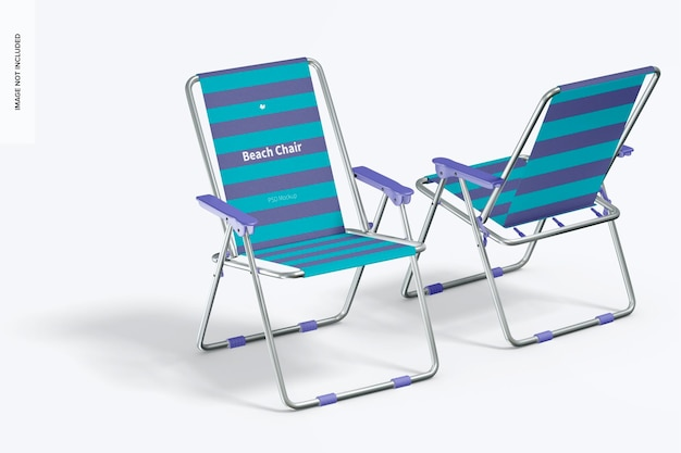 Maqueta de sillas de playa, perspectiva