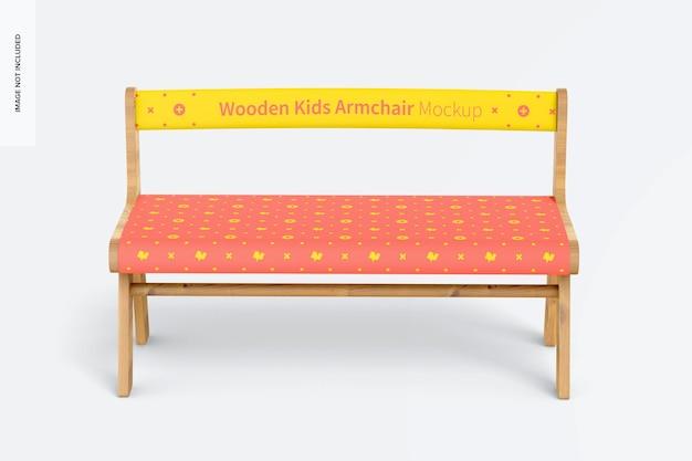 Maqueta de sillón de madera para niños, vista frontal