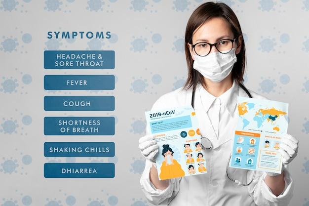 Maqueta de síntomas de coronavirus