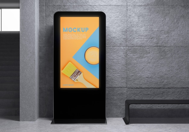 Maqueta de sistema de pantalla retroiluminada urbana