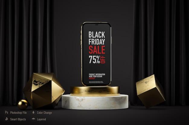 Maqueta de smartphone aislada para black friday