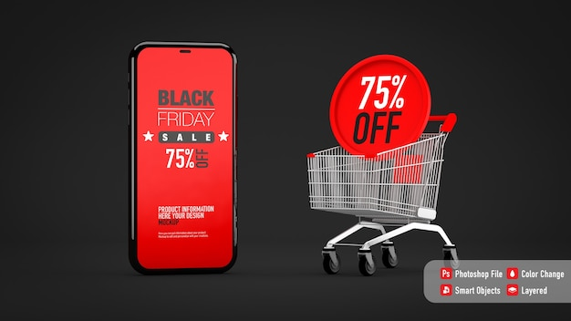 Maqueta de smartphone para black friday junto al carrito de compras