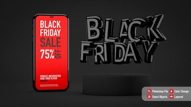 Maqueta de smartphone para black friday junto a letras de globos
