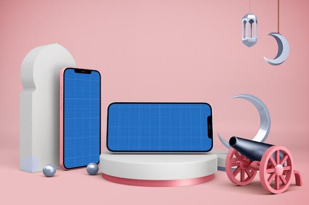 Maqueta de smartphone con decoración de ramadán