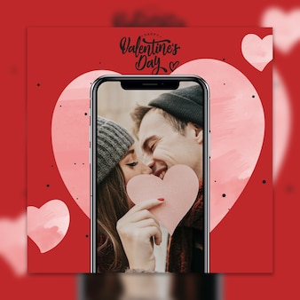 Maqueta de smartphone del día de san valentin