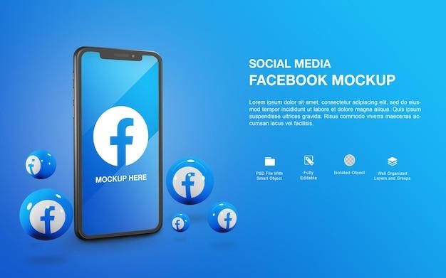 Maqueta de smartphone con diseño de renderizado de bolas de facebook