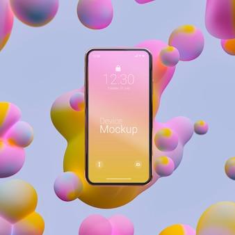 Maqueta de smartphone con elementos líquidos