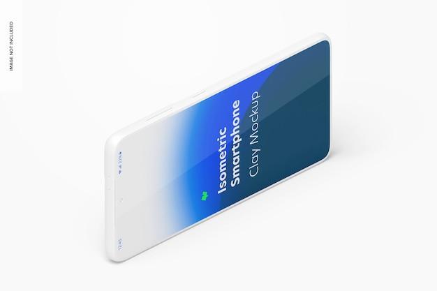 Maqueta de smartphone isométrica de arcilla, vista horizontal a la izquierda