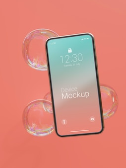 Maqueta de smartphone con líquidos abstractos