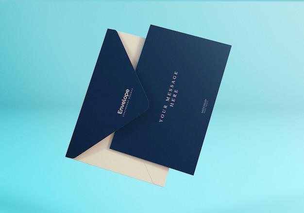 Maqueta de sobre flotante minimalista realista