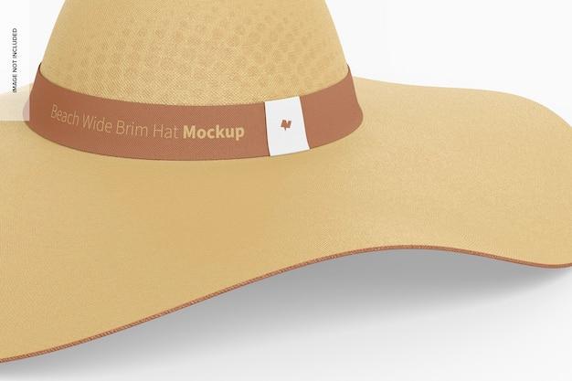 Maqueta de sombrero de ala ancha de playa, primer plano