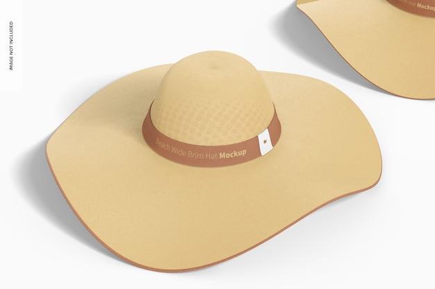 Maqueta de sombrero de ala ancha para playa, vista frontal