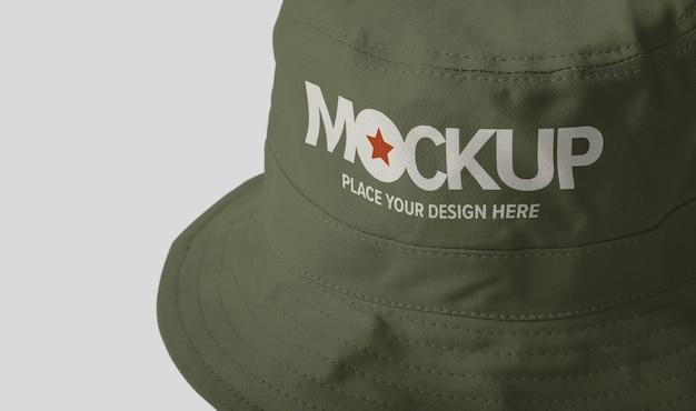 Maqueta de sombrero de cubo de lona aislado
