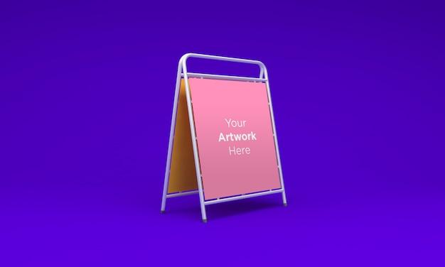 Maqueta de soporte de tablón de anuncios metálico renderizado en 3d