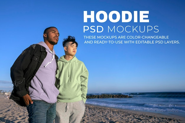 Maqueta de sudadera con capucha psd, moda casual para adolescentes
